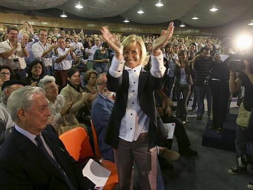 Acto político de UPyD , el partido de Rosa Díez.