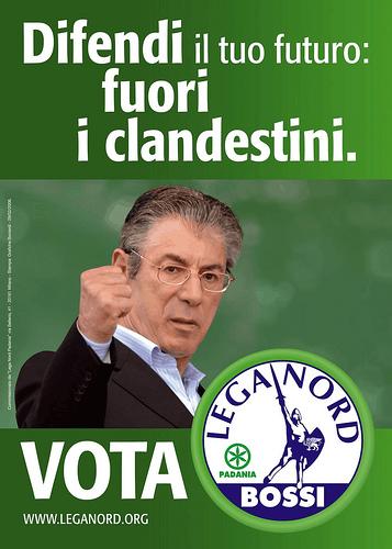 Cartel de la Liga Norte, socio del gobierno Berlusconi.